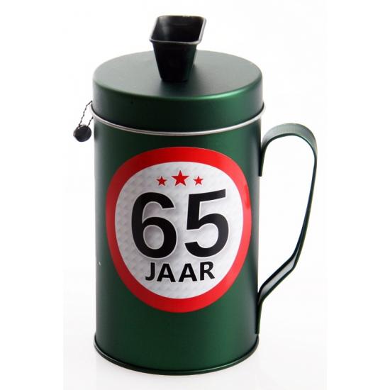 65 jaar kado spaarpot/ collectebus