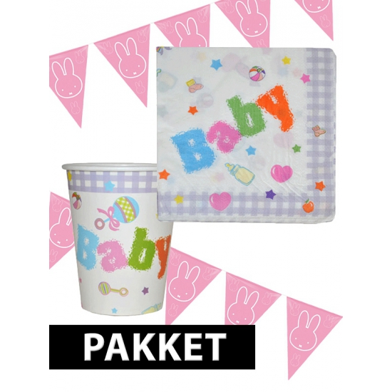 Babyshower decoratie pakket roze