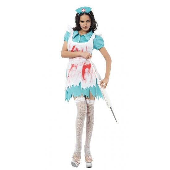 Bloederige zuster kostuum voor dames. zuster kostuum met een met bloed besmeurd shortje. het bloederige ...