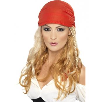 Blonde piraten pruik voor dames (bron: Oranjediscounter)