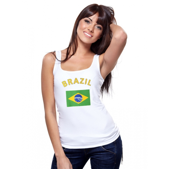Brasiliaanse vlag tanktop voor dames (bron: Oranjediscounter)