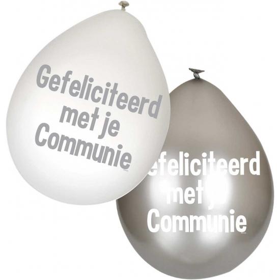 Communie ballonnen witzilver 6 stuks