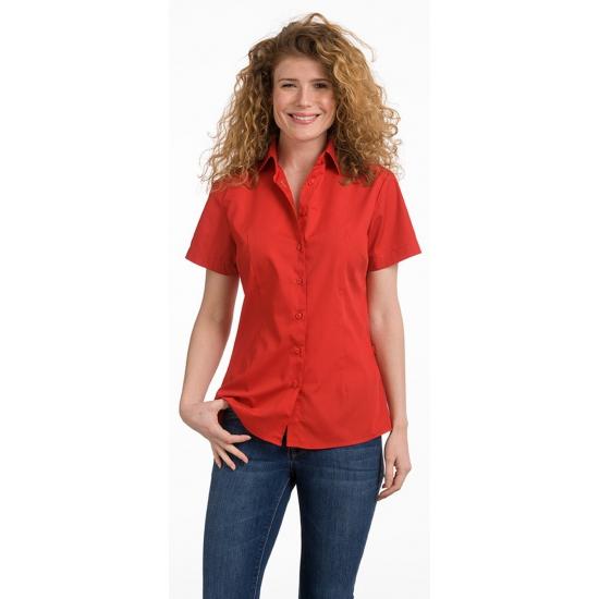 Dames overhemden rood korte mouw