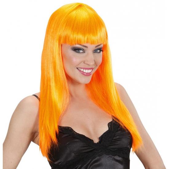 Damespruik oranje stijl haar (bron: Oranjediscounter)
