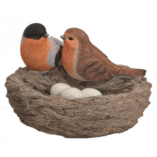 Decoratie nest met vogels en eieren oranje