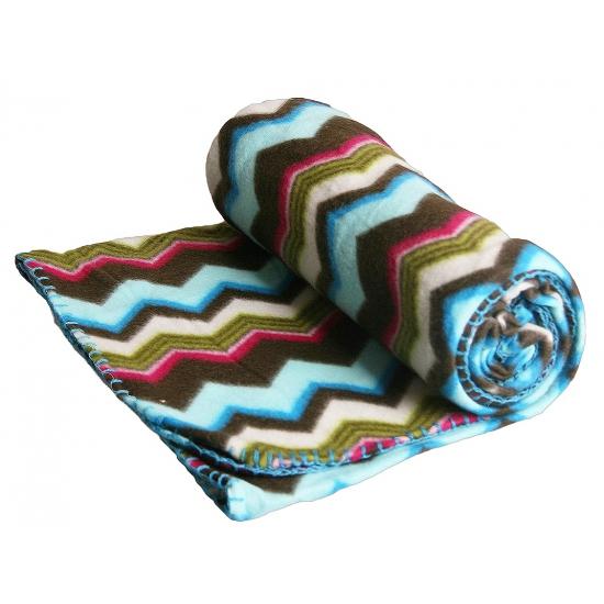 Fleece deken zigzag strepen