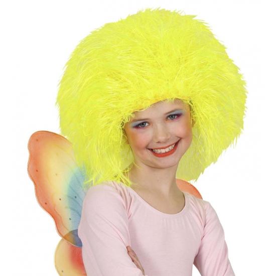 Gele afro kinderpruik (bron: Oranjediscounter)