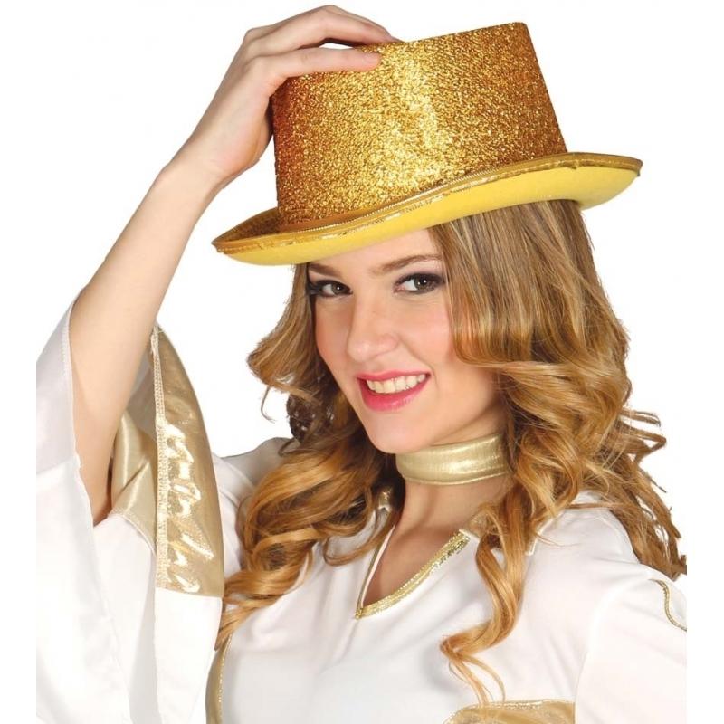 Glitter hoge hoed goud (bron: Oranjediscounter)