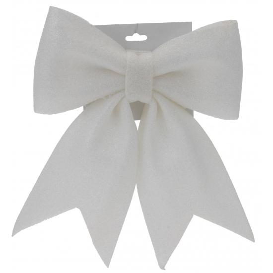 Glitter strikje wit 34 cm (bron: Oranjediscounter)