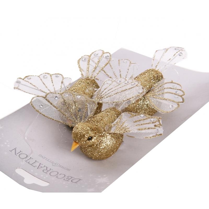 Gouden decoratie vogel met glitters
