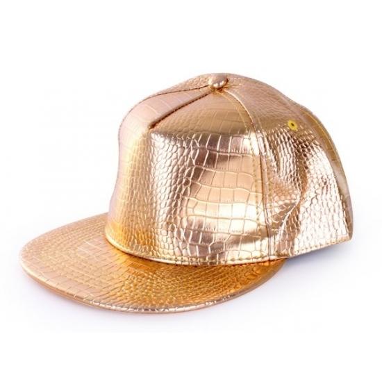 Gouden rapper cap krokodillenprint (bron: Oranjediscounter)
