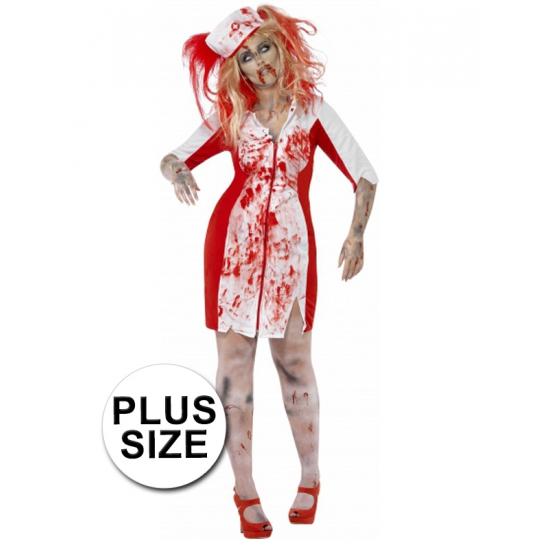 Grote maten Halloween Zombie zuster jurk dames (bron: Oranjediscounter)