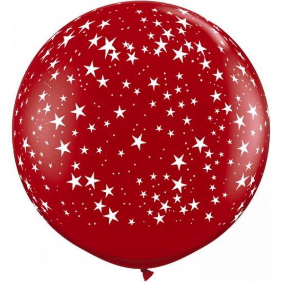 Grote rode ballon met sterren 90 cm (bron: Oranjediscounter)