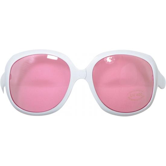 Grote witte brillen met roze glazen