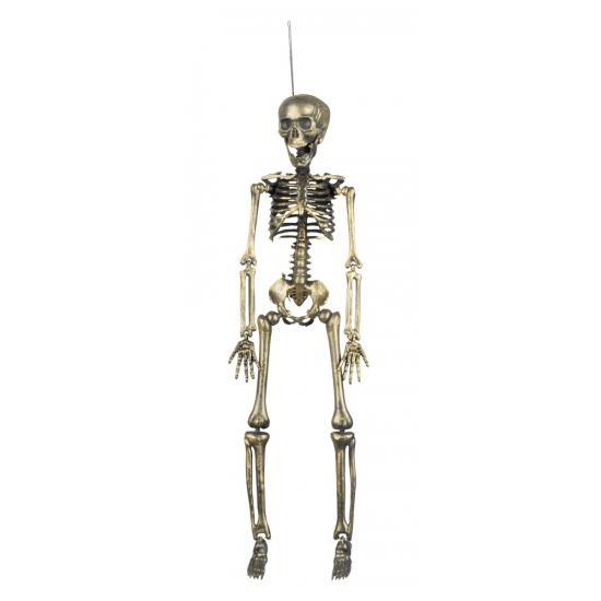 Hangdecoratie skeletten goud 42 cm