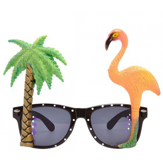 Hawaii thema bril met flamingo glazen (bron: Oranjediscounter)