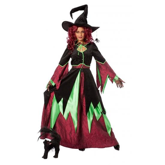 Heksen kostuums rood/groen dames (bron: Oranjediscounter)