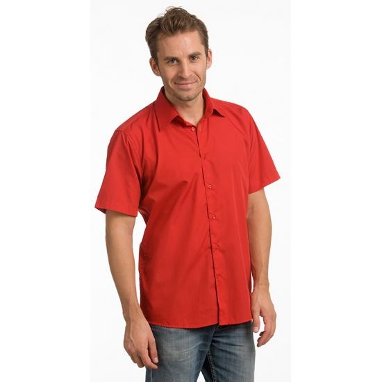 Heren overhemden rood met korte mouw