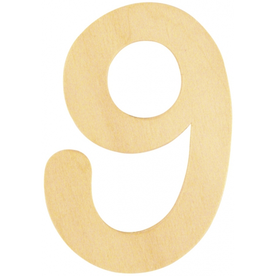 Houten cijfertje 9 (bron: Oranjediscounter)