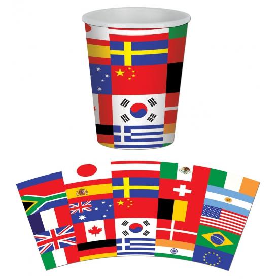 Internationale feestbekers 8 stuks