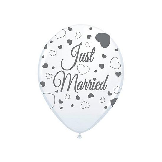 Just Married versiering balonnen 8 st (bron: Oranjediscounter)