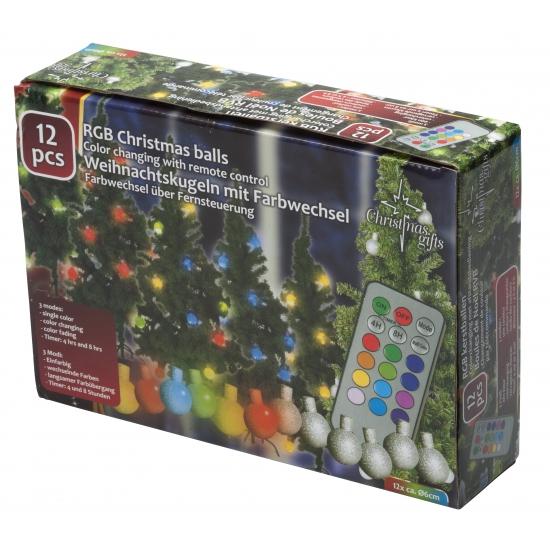 Kerstballen set met gekleurde verlichting
