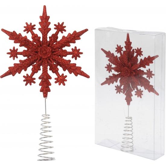 Kerstboom piek rode sneeuwvlok