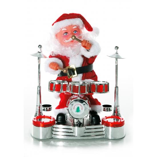 Kerstman op drumstel beeld 19 cm