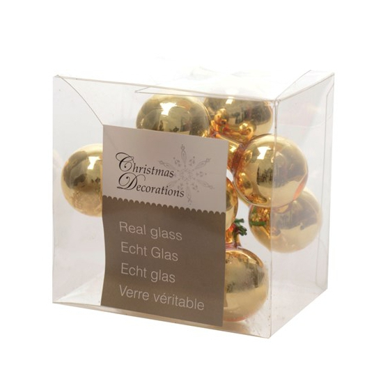 Kerststukje gouden balletjes 10 stuks (bron: Oranjediscounter)