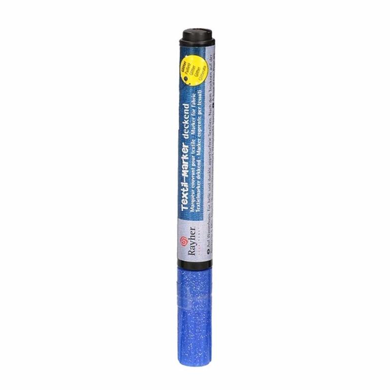 Kleding stift blauw met glitters