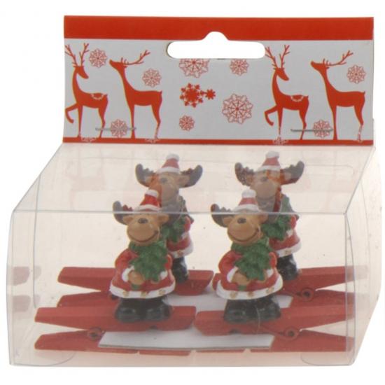 Knijper met rendier met kerstboom 4 stuks (bron: Oranjediscounter)