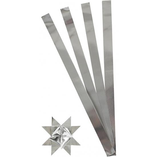 Knutselmateriaal papierstroken zilver 73 cm