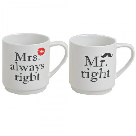 Koffie bekers Mr Right en Mrs Always Right