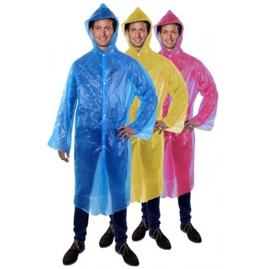 Lange regenjasregenponcho voor carnaval blauw