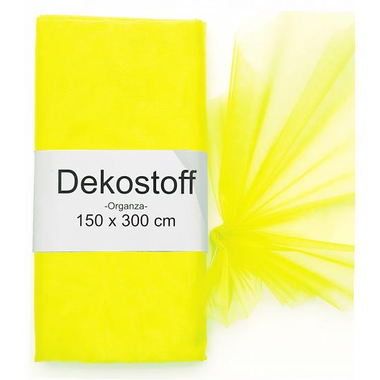 Neon gele organza stof op rol 150 x 300 cm (bron: Oranjediscounter)