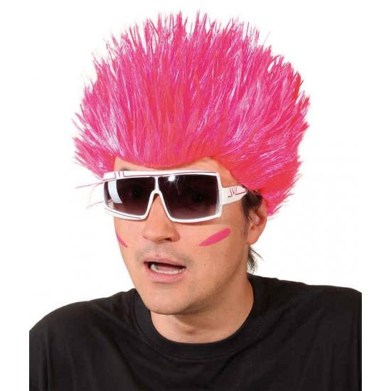 Neon roze pruik voor volwassenen (bron: Oranjediscounter)