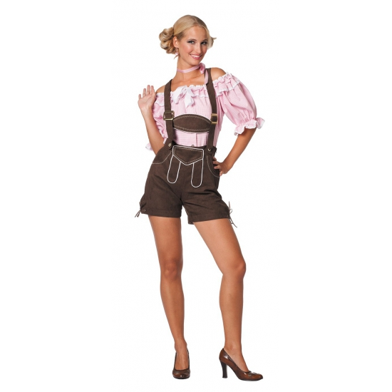 Oktoberfest donkerbruine lederhose voor dames (bron: Oranjediscounter)