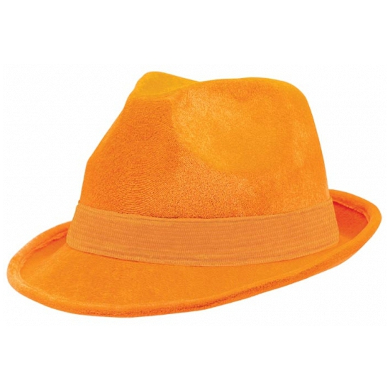 Oranje suede hoeden (bron: Oranjediscounter)