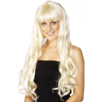 Paris pruik met lang blond haar (bron: Oranjediscounter)