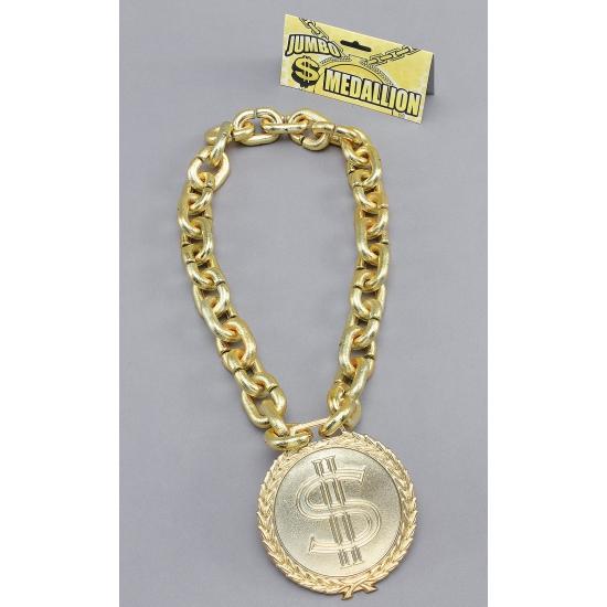 Jumbo schakel ketting met dollar. grote goud kleurige schakelketting, met daaraan een groot dollar teken....