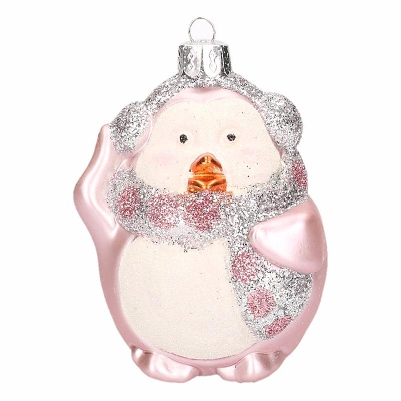Pinguin kerstballen roze 4 stuks
