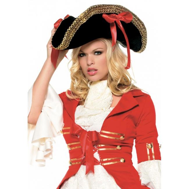 Piraat hoed zwart met strikken (bron: Oranjediscounter)
