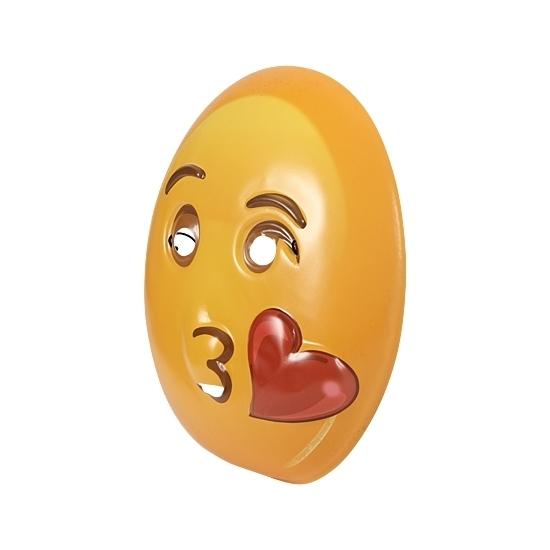 Plastic emoticon masker kusje (bron: Oranjediscounter)
