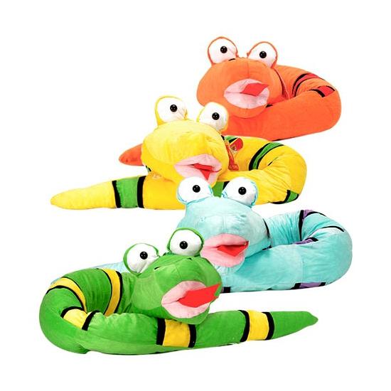 Pluche felgekleurde slang knuffel geel 300 cm