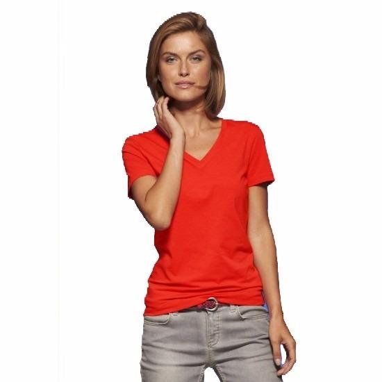 Rode dames t shirts met V hals
