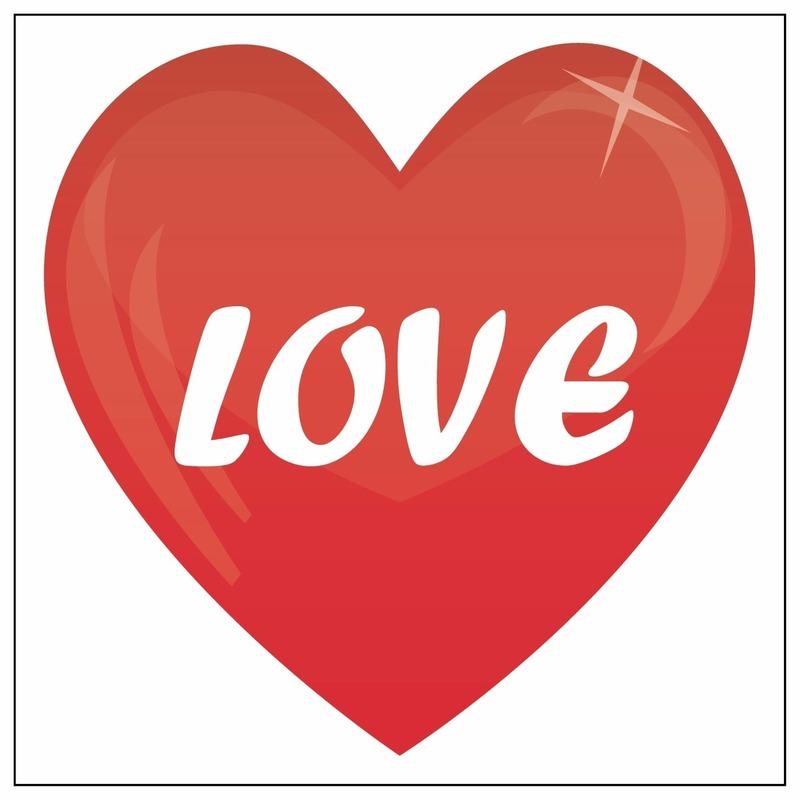 Rode hartjes sticker Love 105 cm