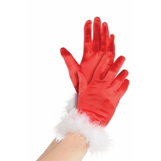 Rode kerst handschoenen voor vrouwen (bron: Oranjediscounter)