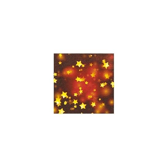 Rode kerst servetten met gouden sterren (bron: Oranjediscounter)