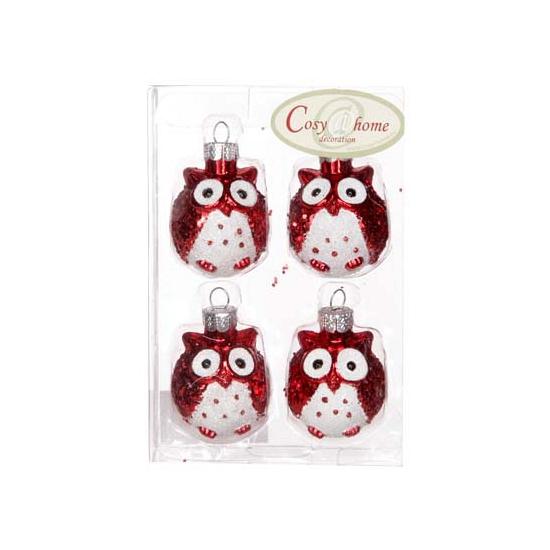 Rode uilen kerstballen 4 stuks (bron: Oranjediscounter)