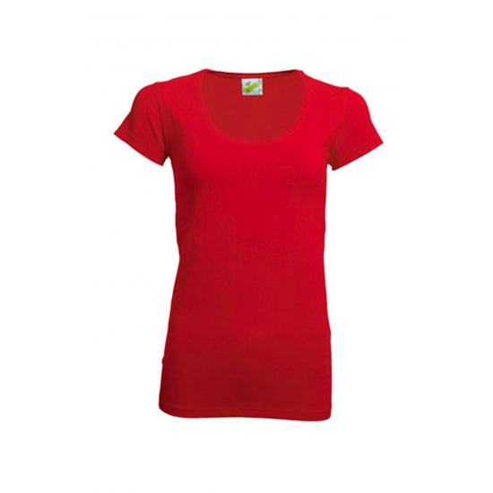 Rood dames shirt met ronde hals